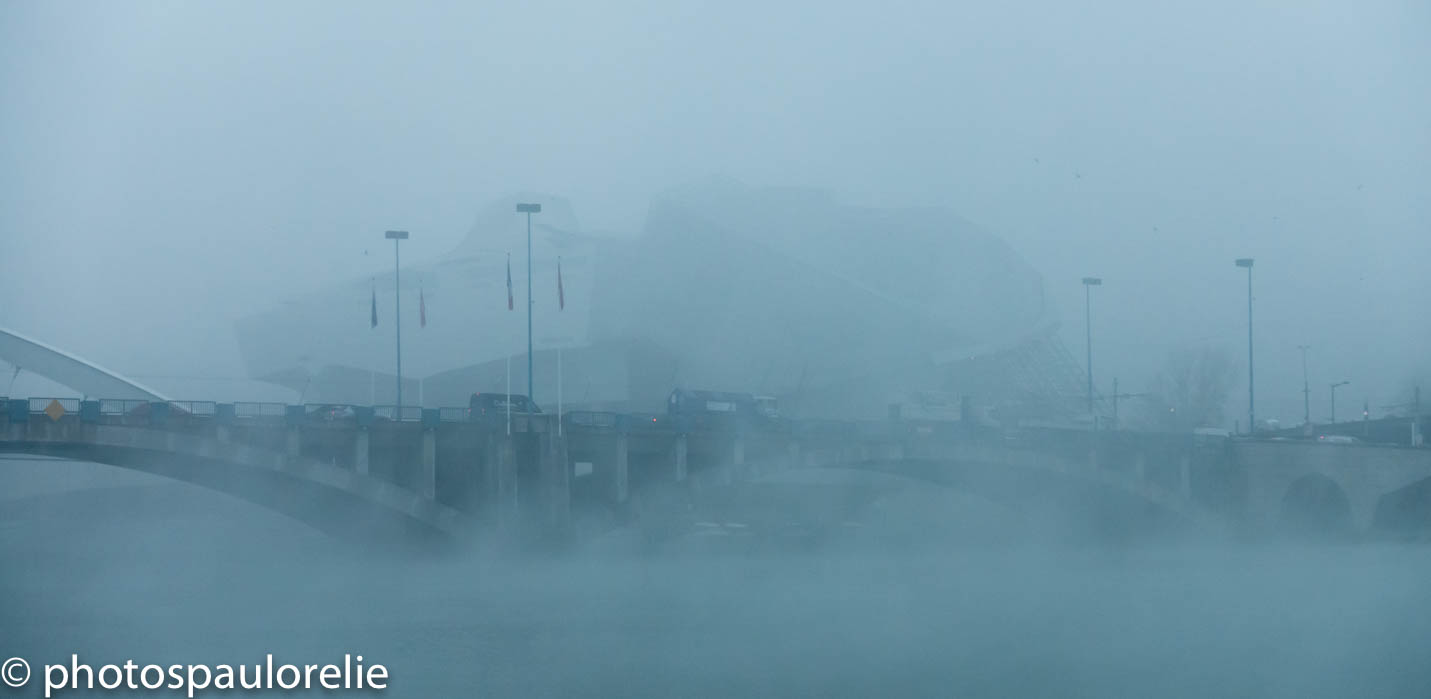 un nuage perdu dans le brouillard matinal... Musée des Confluences depuis les quais de Rhône décembre 2019